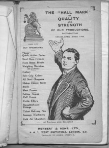 Catalogue 1910 (Contents page only)