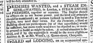 Richard Wood advertises for a steam engine