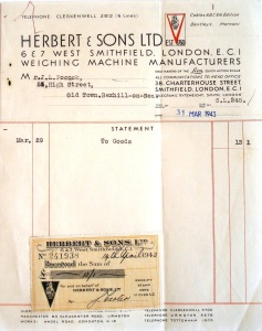 Picture of Invoice & Statement of Account 1939 & 1943